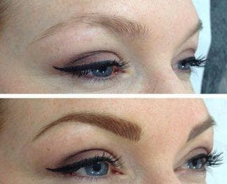 результат перманентного макияжа бровей